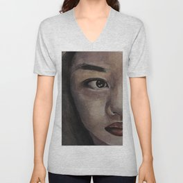 Art, watercolor portrait asian girl Unisex V-Neck