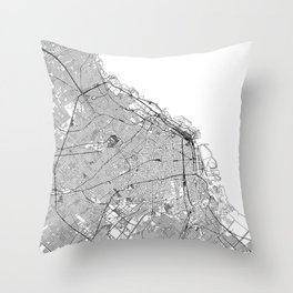 Buenos Aires White Map Throw Pillow
