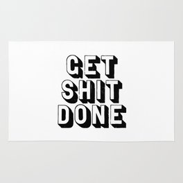 Get Shit Done black-white typography poster black and white design bedroom wall home decor room Rug