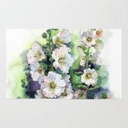 Watercolor Hollyhocks white flowers Rug