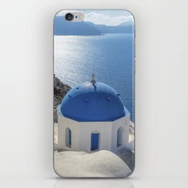 Santorini Island with churches and sea view in Greece iPhone Skin