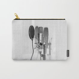 Microphone black and white Carry-All Pouch