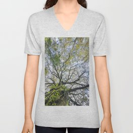 Centenary oak with the trunk covered in moss and green plants Unisex V-Neck
