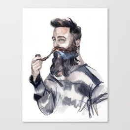 Brutal man sailor smoking a pipe Canvas Print