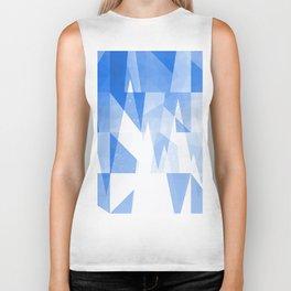 Abstract Blue Geometric Mountains Design Biker Tank