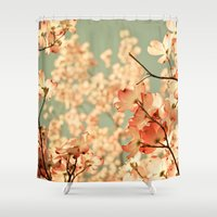 black Shower Curtains featuring Pink by Olivia Joy StClaire