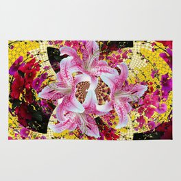 ABSTRACTED FUCHSIA-PINK LILY & HOLLYHOCKS GARDEN Rug