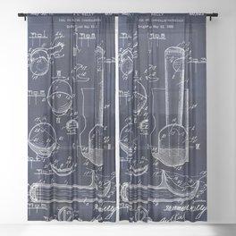 Ice Cream Scoop Blueprint Sheer Curtain