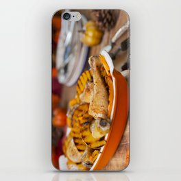 II - Oven roasted chicken with grilled pumpkin on a rustic table iPhone Skin