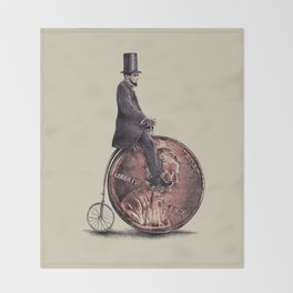 Penny Farthing Throw Blanket