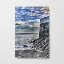Cornish Pier with Waves Metal Print