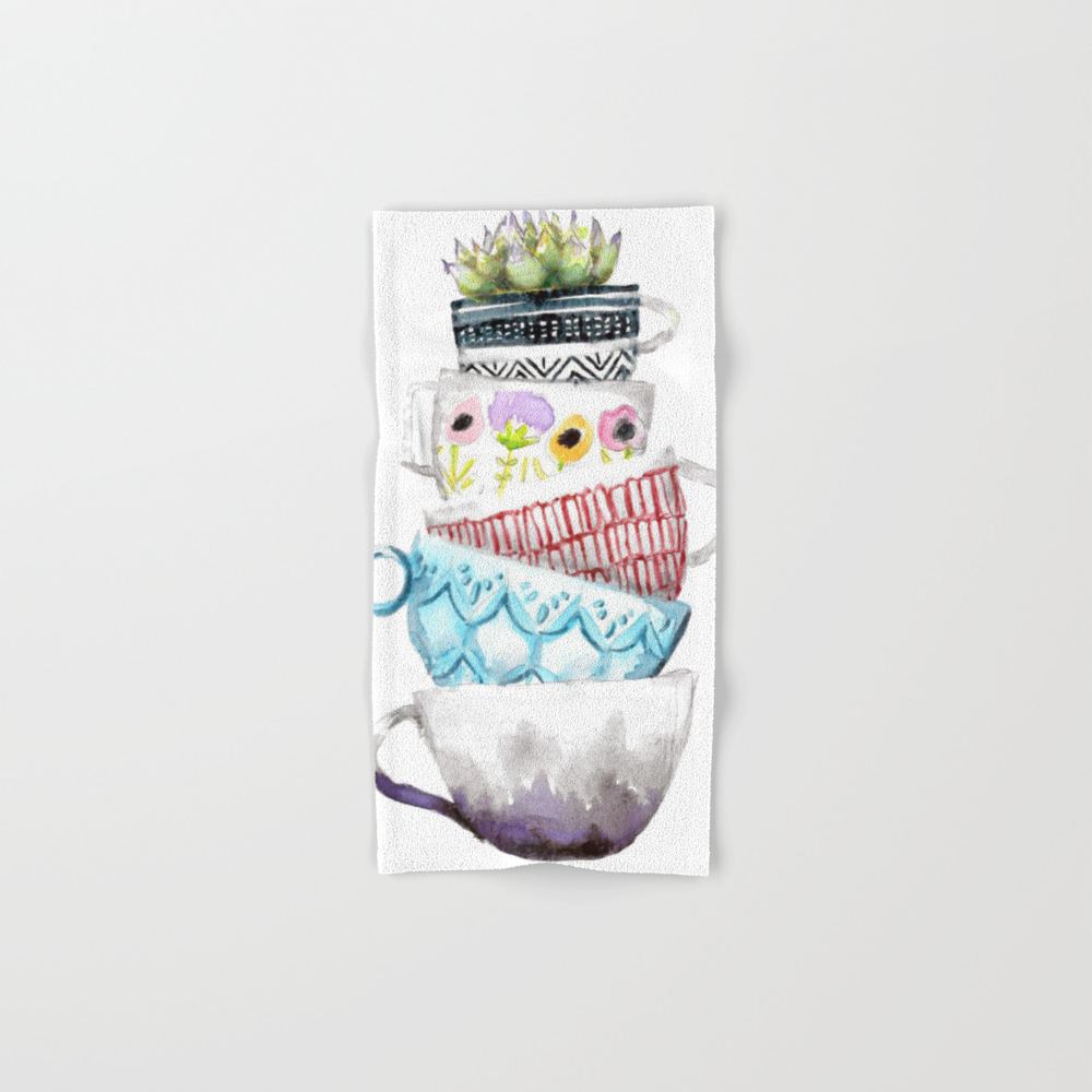 Cups On Cups On Cups Hand Towel by Hapticdrifter BTL8656197