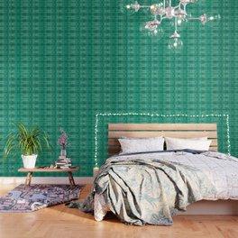 Vintage Tribal Distressed Green Wallpaper
