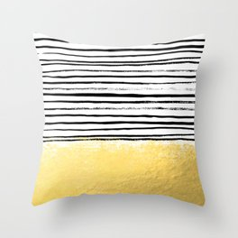 Blaire - Brushed Gold Stripes - black and gold, gold trend, gold phone case, gold cell case Throw Pillow