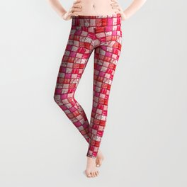 Faux Patchwork Quilting - Pink and Red Leggings