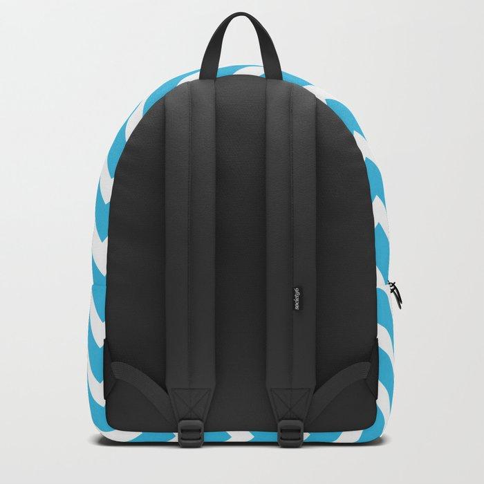 sky blue, white zig zag pattern design Backpack