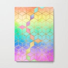 Rainbow Cubes Metal Print