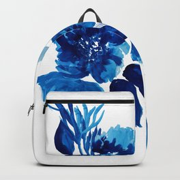 Blue watercolor flowers and stems Backpack