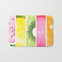 Summer Fruits Watercolor Abstraction Bath Mat