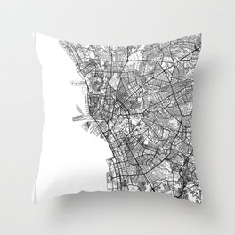 Manila Map White Throw Pillow