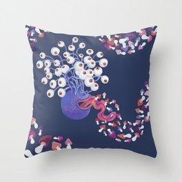 Mushroom Monster Throw Pillow