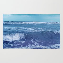Blue Atlantic Ocean White Cap Waves Clouds in Sky Photograph Rug