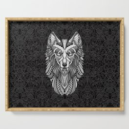 White Wolf Aztec Pattern Serving Tray
