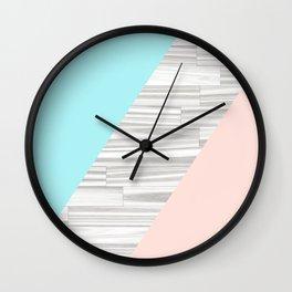 Abstract gray wood coral aqua color block Wall Clock