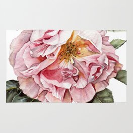 Wilting Pink Rose Watercolor Rug