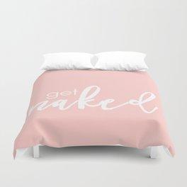 Bathroom Decor // get naked - white on light pink Duvet Cover