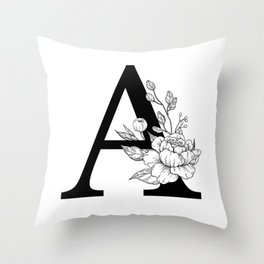A botanical monogram. Letter initial with peonies Throw Pillow