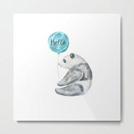 Panda Greeting Metal Print