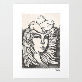 Una señorita pájaro Art Print