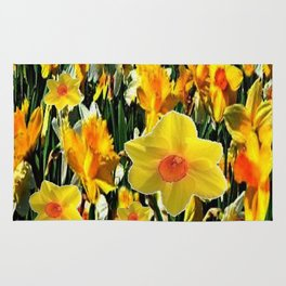 GOLDEN ORANGE YELLOW SPRING DAFFODILS Rug