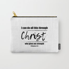 Christian,Bible Quote,I can do all this through Christ,Philippians 4:13 Carry-All Pouch