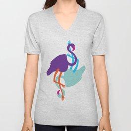 Animal Mardi Gras (Flamingo Mauve Turquoise) Unisex V-Neck