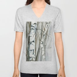 Winter Birch Trees Woodland Watercolor Original Art Print Unisex V-Neck