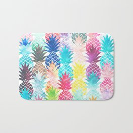 Hawaiian Pineapple Pattern Tropical Watercolor Bath Mat