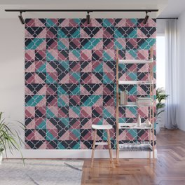 Arabesque Mosaic - pink and blue Wall Mural