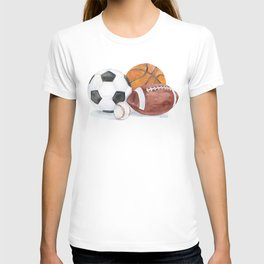Sports Balls Watercolor Painting T-shirt
