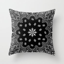 black and white bandana pattern Throw Pillow