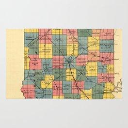 Vintage Indiana Railroad Map (1852) Rug