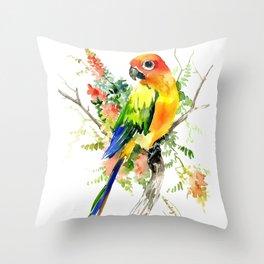 Sun Conure Parakeet Throw Pillow