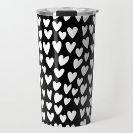 Linocut printmaking hearts pattern minimalist black and white heart gifts Travel Mug