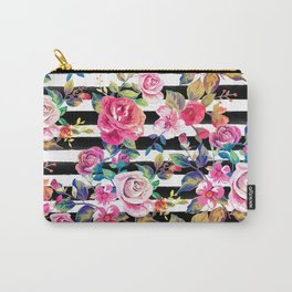 Cute spring floral and stripes watercolor pattern Carry-All Pouch
