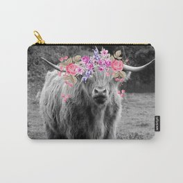 Floral Highland Cow Carry-All Pouch