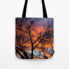 Winter Tree Sunset Tote Bag
