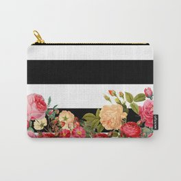 Black and White Stripe with Floral Carry-All Pouch