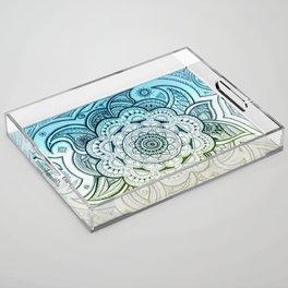 Mandala Blue Yellow Acrylic Tray