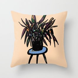 Plant on a plant stand Throw Pillow